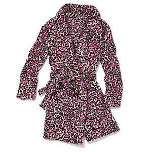 Victoria's Secret Plush Pink Heart Leopard Robe